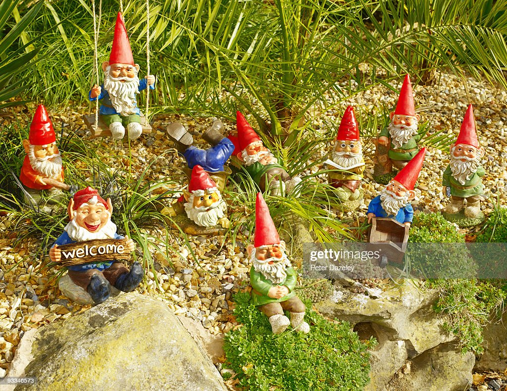 Gnome In Garden: Family Of Garden Gnomes In Garden Setting Stock Photo