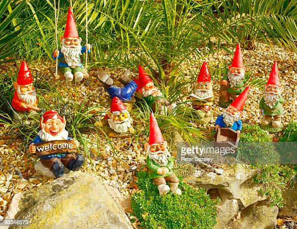 Family of garden gnomes in garden setting.