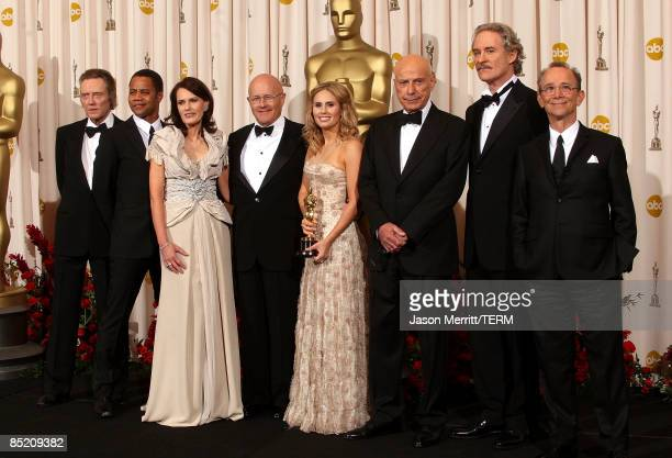 Family of late actor Heath Ledger father Kim Ledger mother Sally and sister Kate pose with actors Christopher Walken Cuba Gooding Jr Alan Arkin Kevin...
