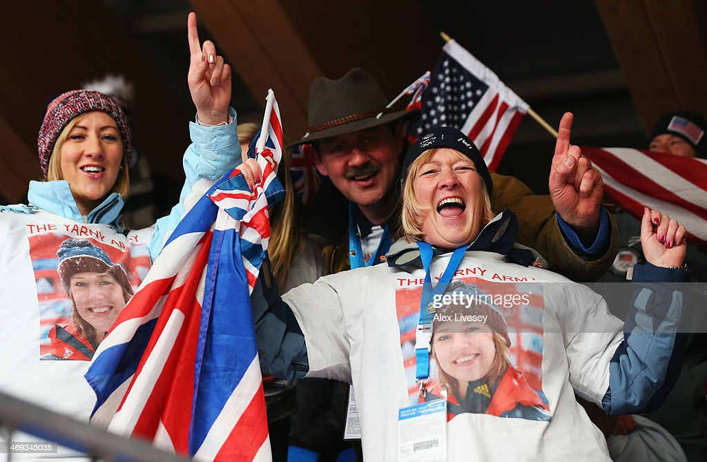 Family of Lizzy Yarnold of Great Britain including sister Katie, father Clive and mother Judith show their support prior to the Women's Skeleton on Day 7 of the Sochi 2014 Winter Olympics at Sliding Center Sanki on February 14, 2014 in Sochi, Russia.