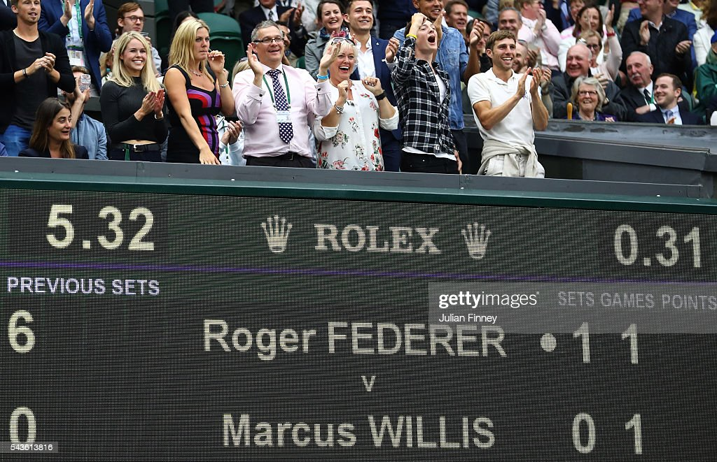 Family of Marcus Willis watch on from centre court during the Men's Singles second round match between Marcus Willis of Great Britain and Roger Federer of Switzerland on day three of the Wimbledon Lawn Tennis Championships at the All England Lawn Tennis and Croquet Club on June 29, 2016 in London, England.