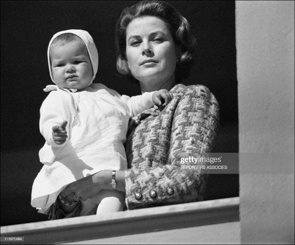 Family Of Monaco At Balcony Of Palace Stephanie In The Arms Of Her Mother Grace In Monaco On March 20 1966