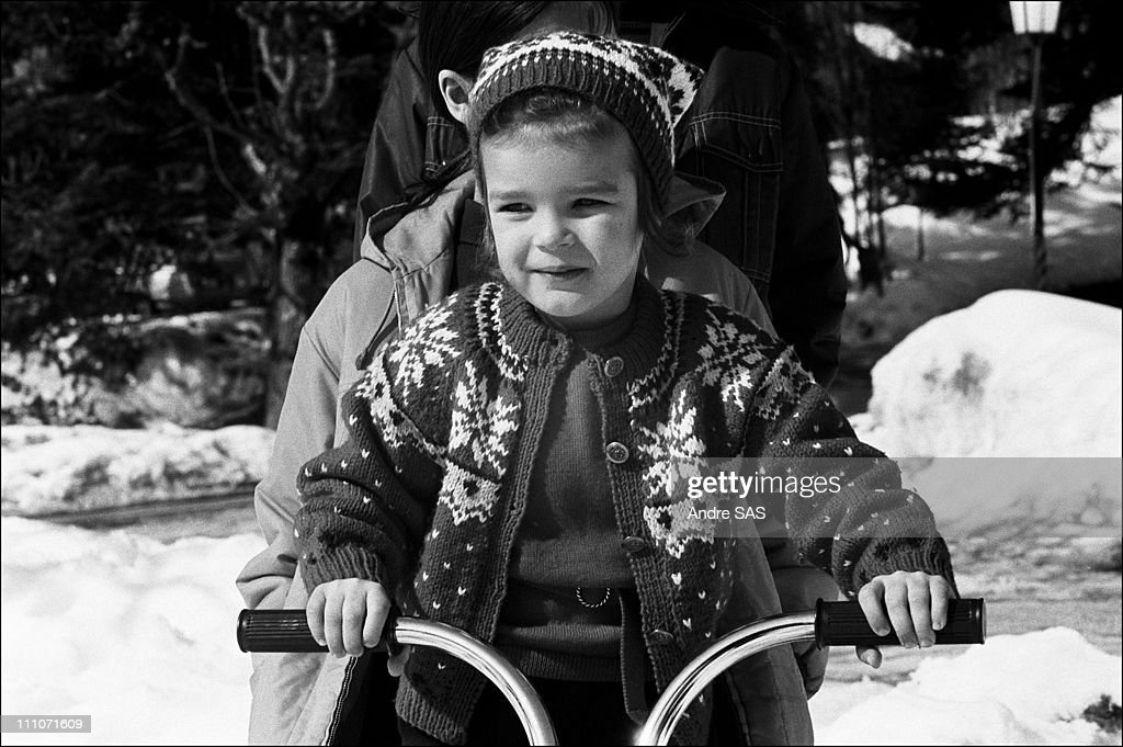 Family Of Monaco At Gstaad Princess Stephanie On A Sledge In Gstaad Switzerland On March 1969