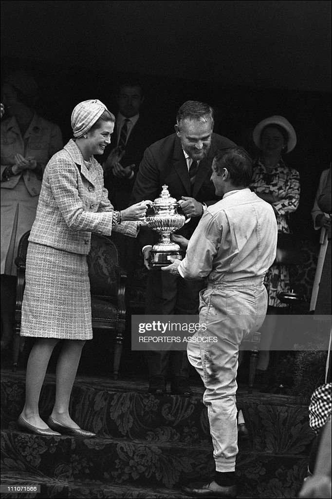 Family Of Monaco Centenary Festival Of Monaco: Princess Grace, Prince Rainier And Winner <a gi-track='captionPersonalityLinkClicked' href=/galleries/search?phrase=Jackie+Stewart+-+Race+Car+Driver&family=editorial&specificpeople=167276 ng-click='$event.stopPropagation()'>Jackie Stewart</a> In Monaco On May 22, 1966