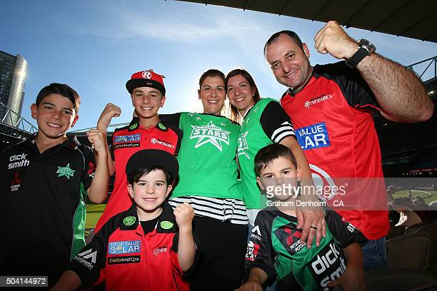 A family of Renegades and Stars fans show their support during the Big Bash League match between the Melbourne Renegades and the Melbourne Stars at...
