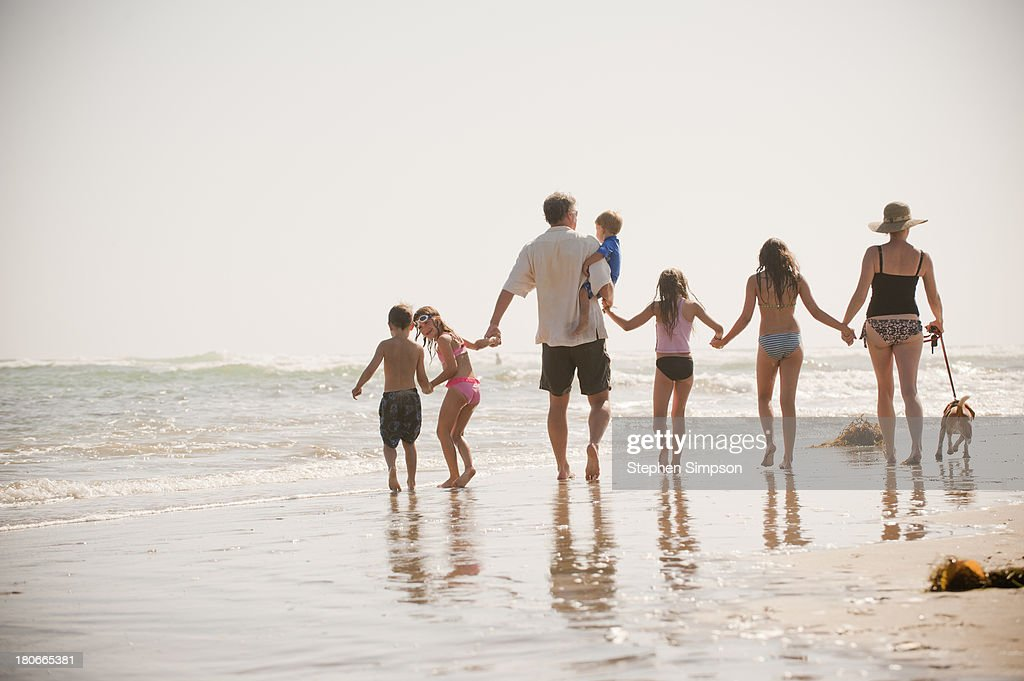 family of seven walks on the beach with their dog : Stock Photo