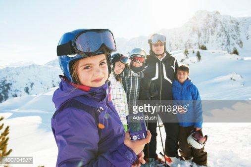 Family of skiers, Les Arcs, Haute-Savoie, France