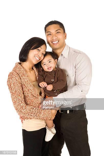 Family of Three on White