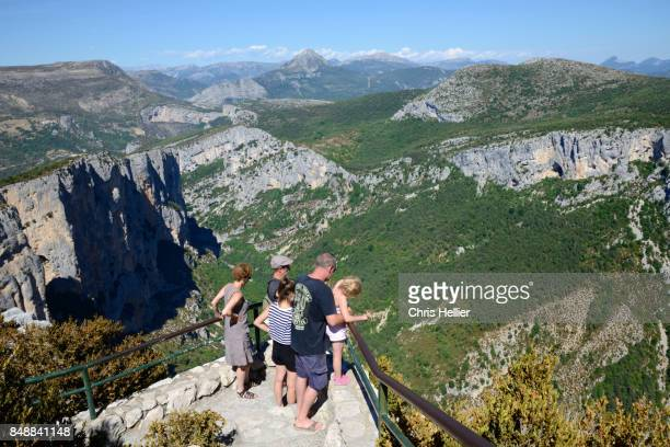 Family of Tourists Looking Over Verdon Gorge
