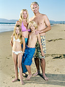 Family on beach, children (9-11)