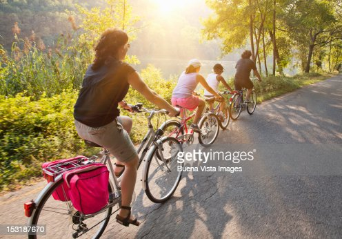 Family on bicycle on a country road