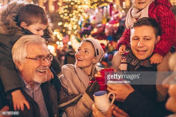 Family on Christmas market