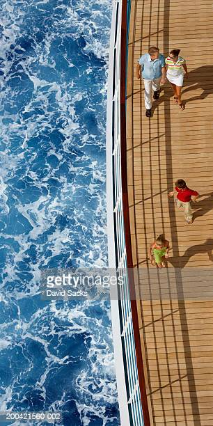 Family on cruise ship and ocean