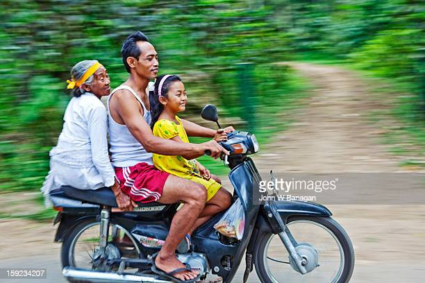 Family on motorbike, Taro, near Ubud, Bali