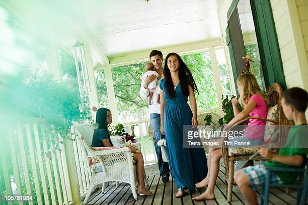 Family on porch