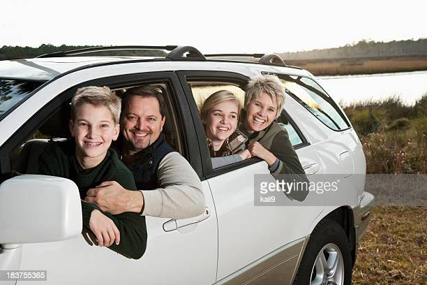 Family on road trip