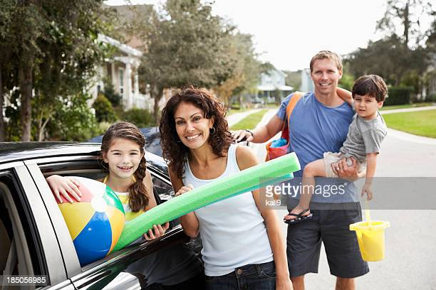 Family on road trip to beach