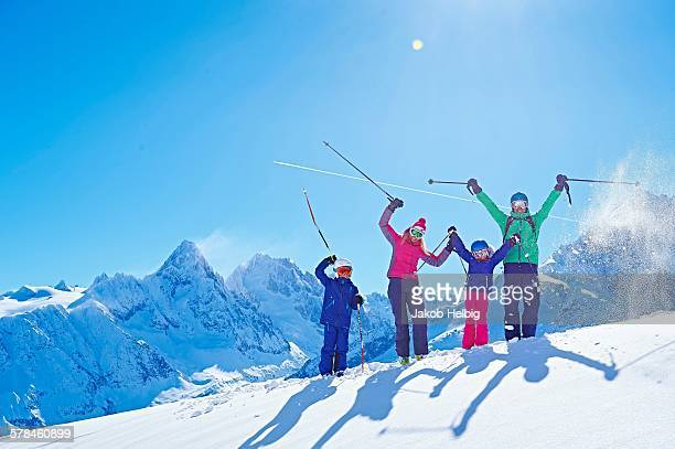 Family on ski trip, Chamonix, France