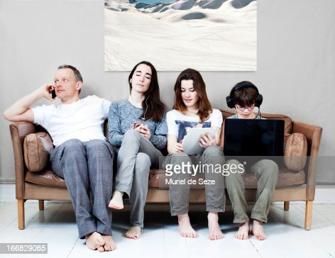 Family on sofa