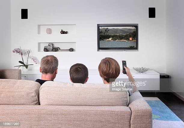 Family on sofa watching television, rear view