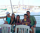 Family on tour boat