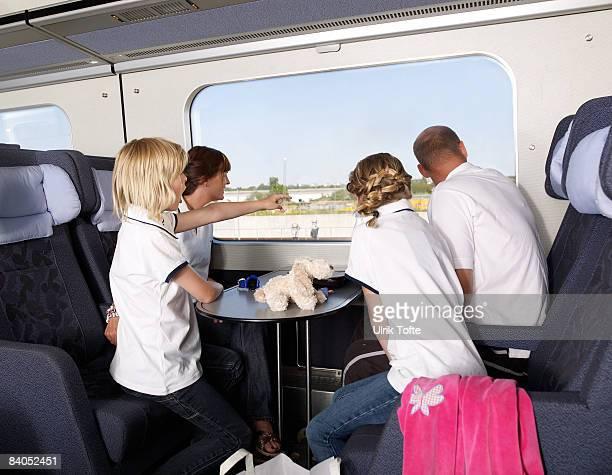Family on train