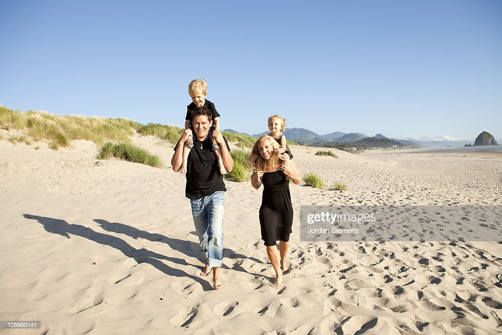 Family on vacation at the ocean. : Stock Photo
