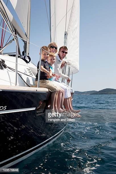 Family on yacht