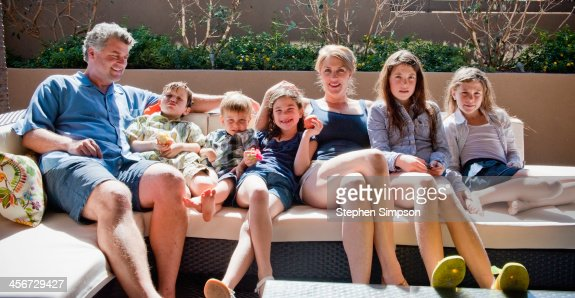 family, outdoor portrait in the morning sun
