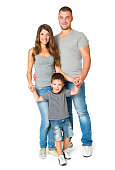 Family over White Background, Happy Parents with One Child, Father Mother Son Kid, Group of Three Persons