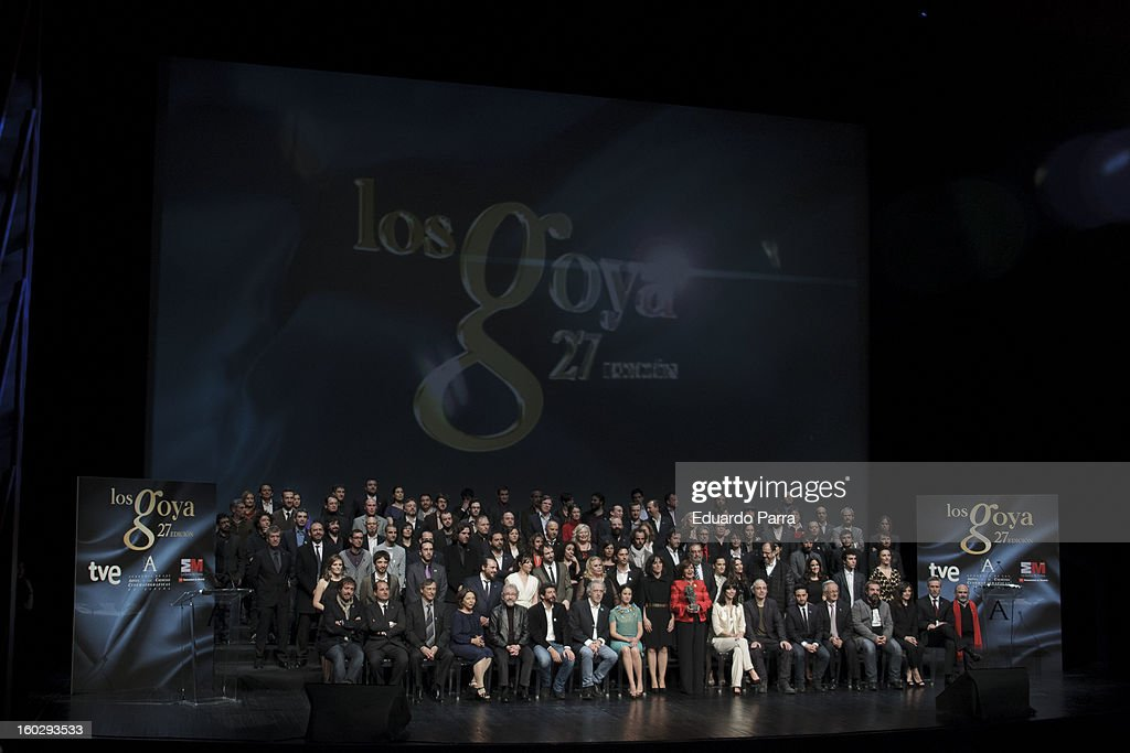Family photo of the Goya award nominees party at El Canal theatre on January 28, 2013 in Madrid, Spain.