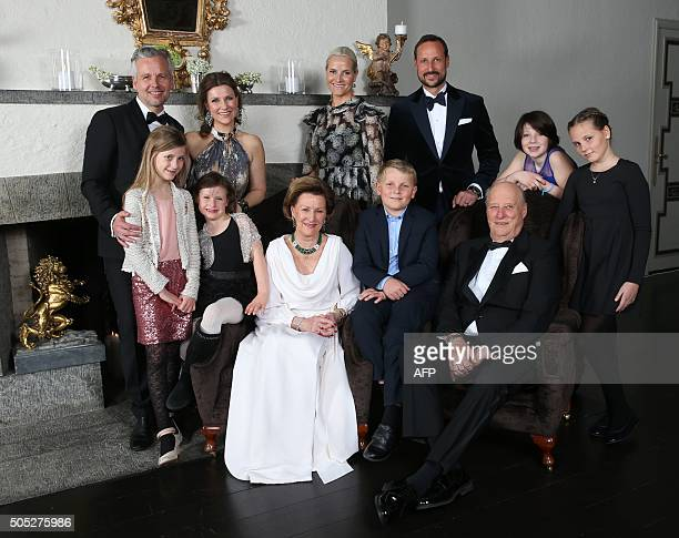 Family photo of the Norwegian Royal family taken on the occasion of King Harald's 25th throne anniversary Ari Behn princess Märtha Louise Leah...