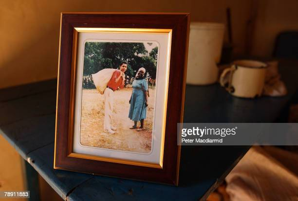 A family photograph of Barack Obama with his stepgrandmother Sarah Obama on a 1987 visit to Kenya stands on a table in her house on January 12 2008...