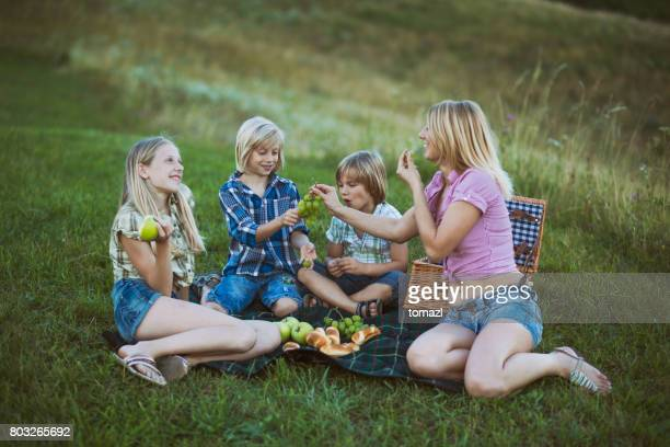 Family picnic with fruits
