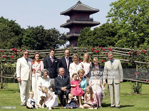 Family picture taken in front of the Japanese Tower during a photo session of the Belgian Royal family at the Castle of Laken near Brussels 22 June...