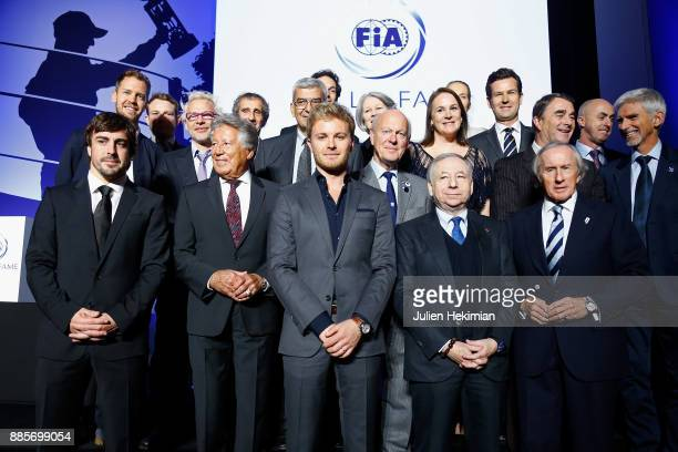 Family picture with at the first row Fernando Alonso Mario Andretti Nico Rosberg FIA President Jean Todt and Jackie Stewart pictured during the FIA...