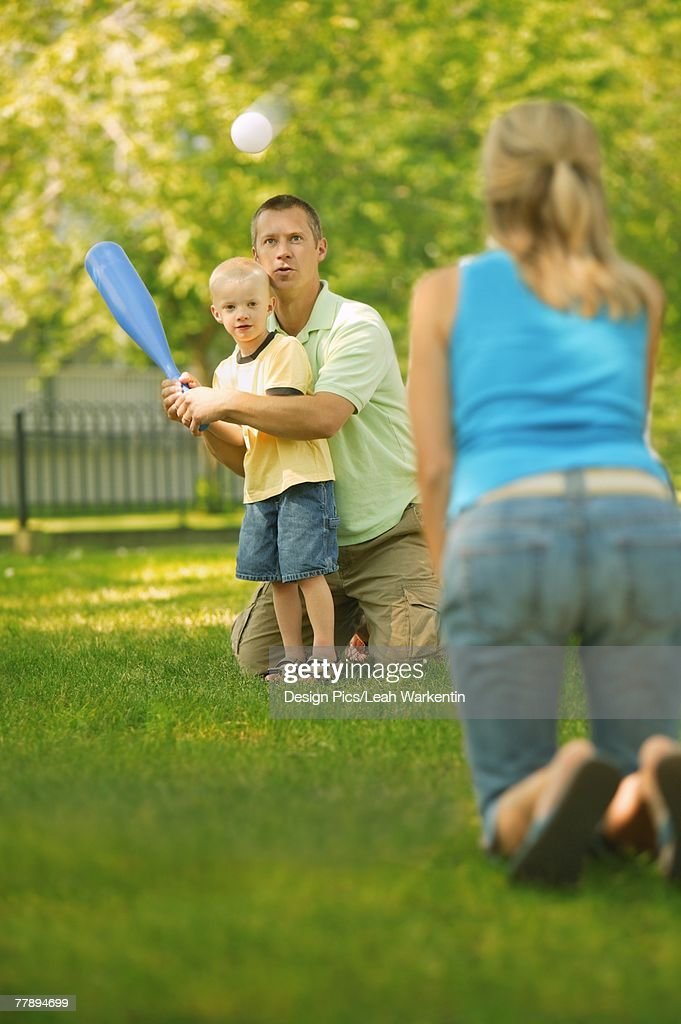 Family Playing Baseball : Stock Photo