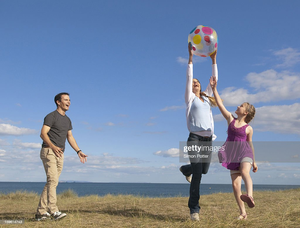 Family playing together outdoors