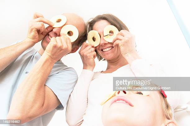 Family playing with food together