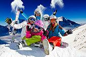Ski family in italian Alps