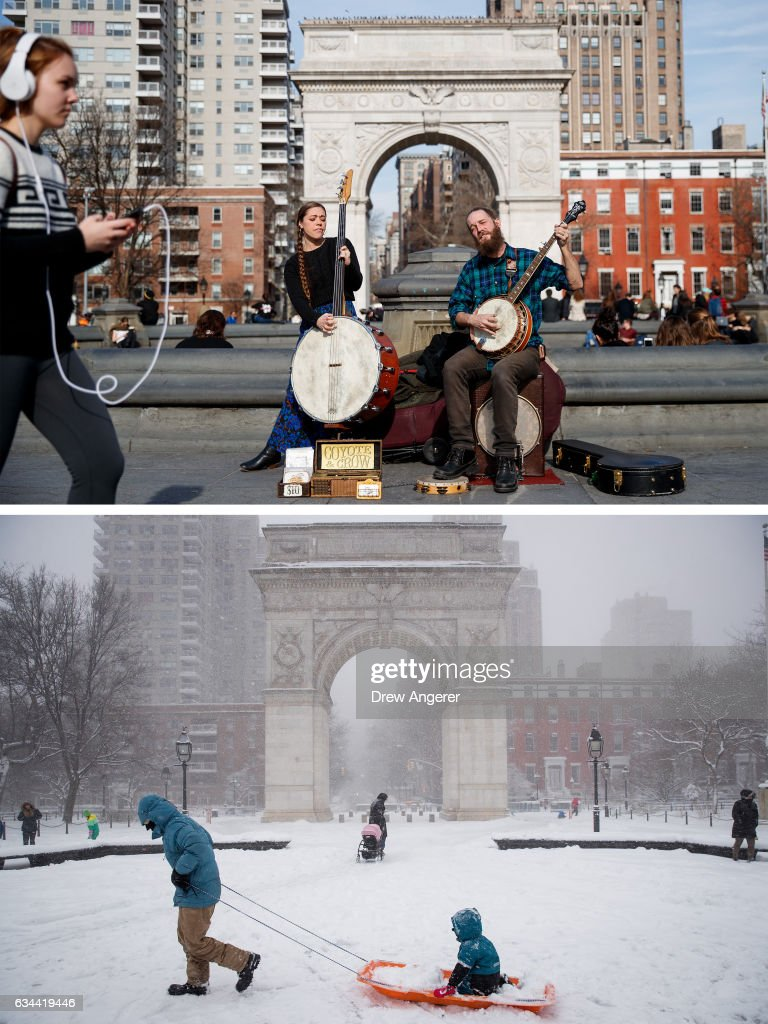 Jamie Kopie and Thomas Kopie play music in Washington Square Park, February 8, 2017 in New York City. As temperatures touched 60 degrees on Wednesday, the city is preparing for up to a foot of snow on Thursday. A family plays in the snow in Washington Square Park, February 9, 2017 in New York City. Following a day of 60 degree temperatures, New York City is expected to receive significant snowfall throughout the day on Thursday.