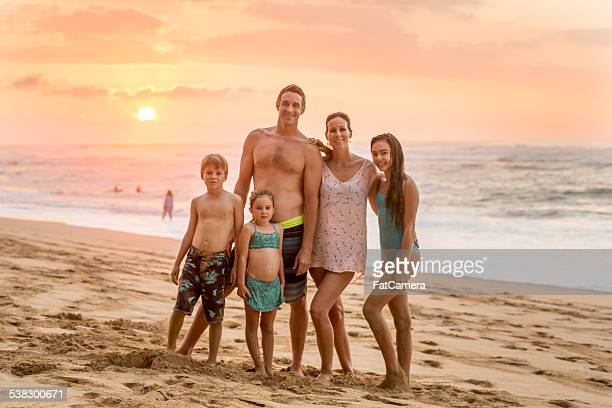 Family portait at beach in Hawaii