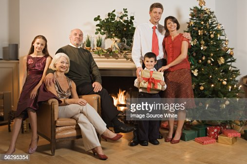 Family portrait at Christmas : Stock Photo