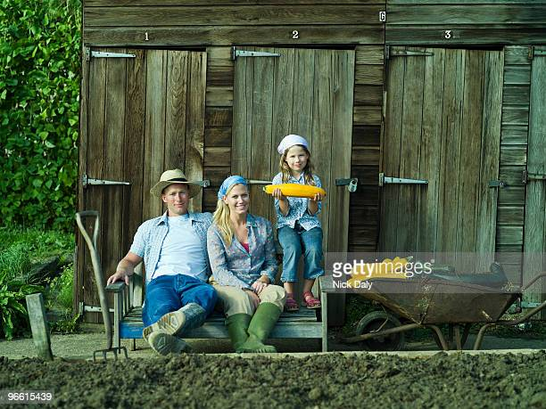 A family portrait in an allotment