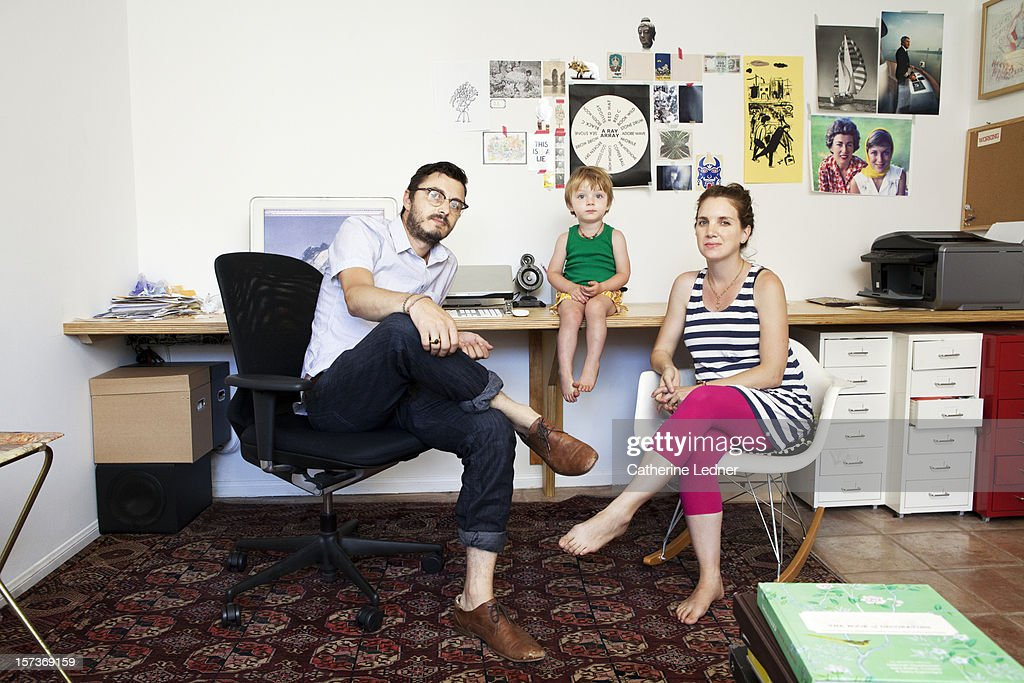 Family Portrait in hip home office : Stock Photo