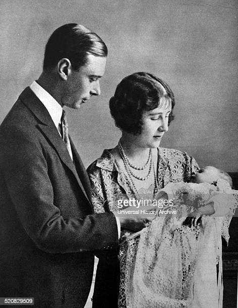 Family portrait of the Duke and Duchess of York with the newborn Princess
