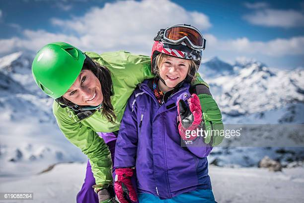 Family portrait on skiing