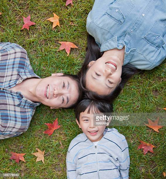Family portrait on the grass, directly above
