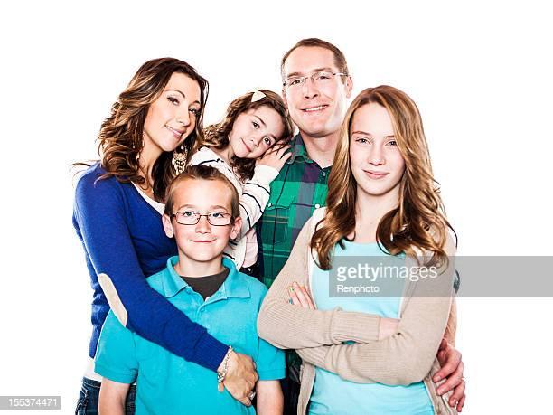 Family Portrait on White Background
