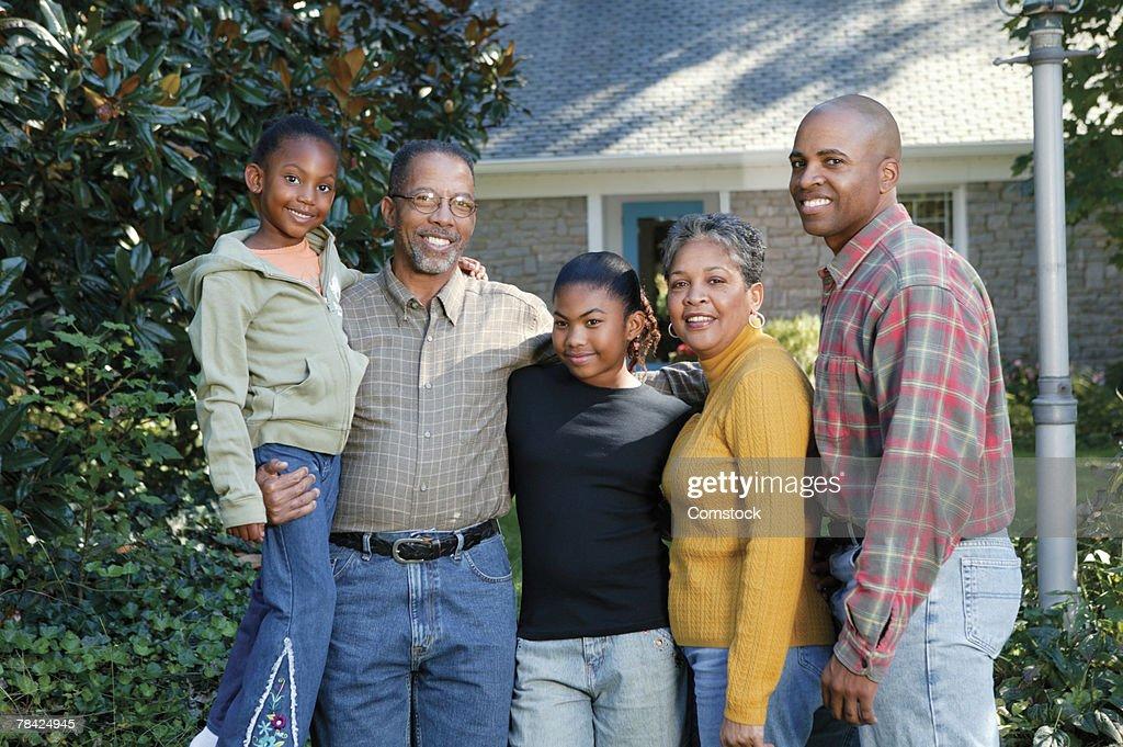 Family portrait outdoors : Stock Photo